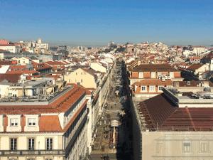 Lissabon Blick vom Arco da rua Augusta auf die rua Augusta