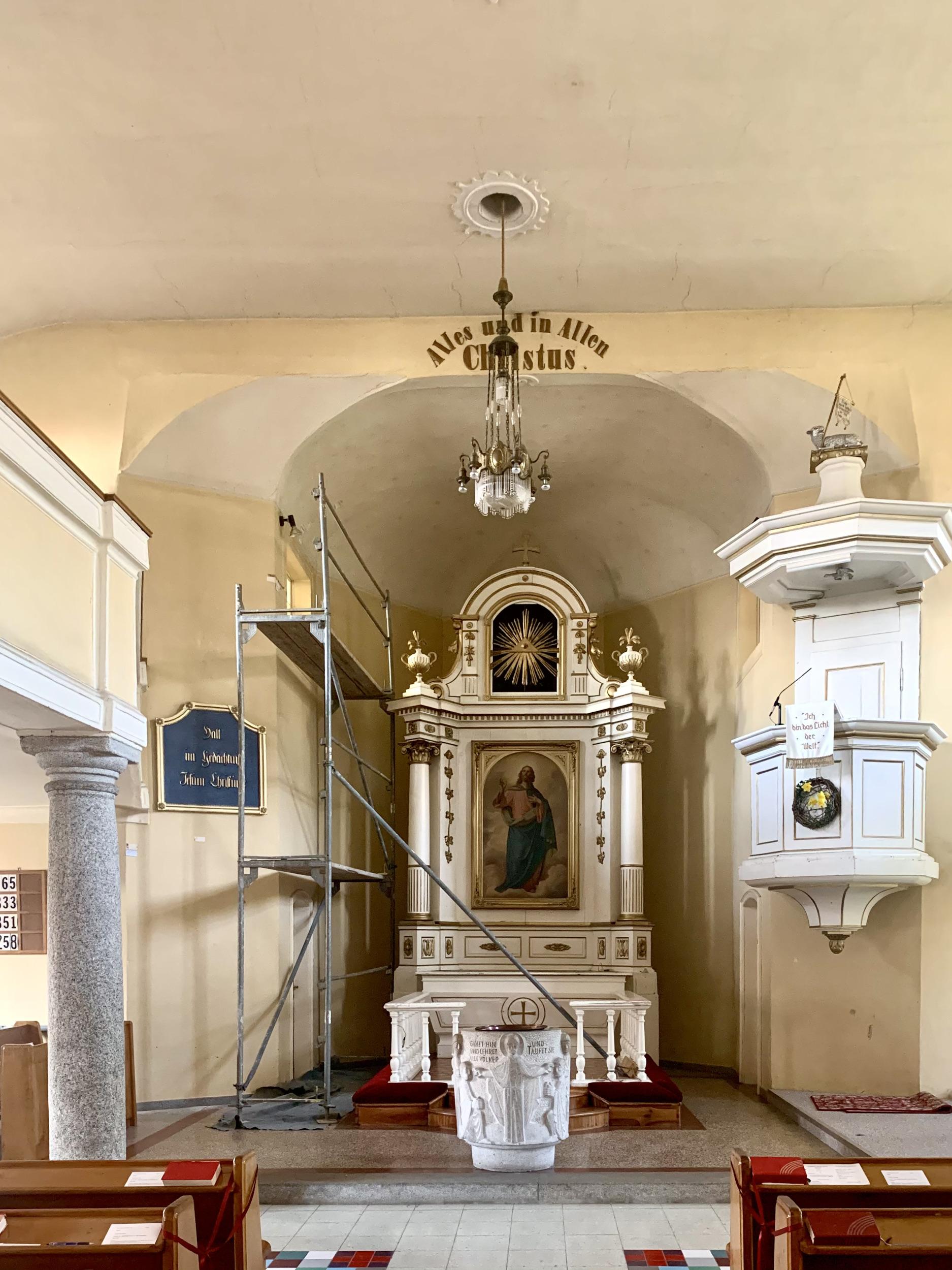 Innenraum der Toleranzkirche von Scharten