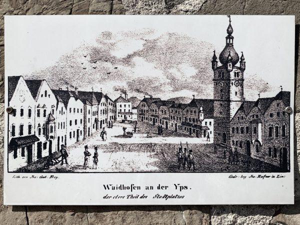 alte Ansicht vom oberen Stadtplatz von Waidhofen an der Ybbs
