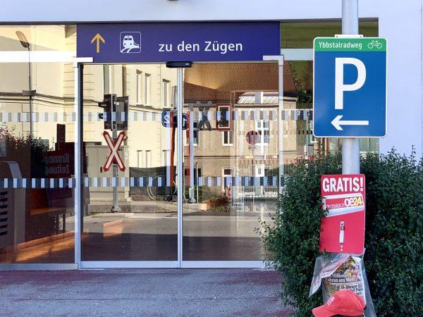 Ybbstalradweg Parkplatz am Bahnhof in Waidhofen an der Ybbs
